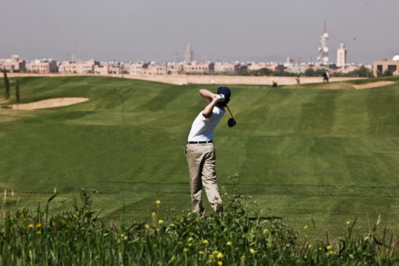 Al Maaden practice area with Marrakech in distance
