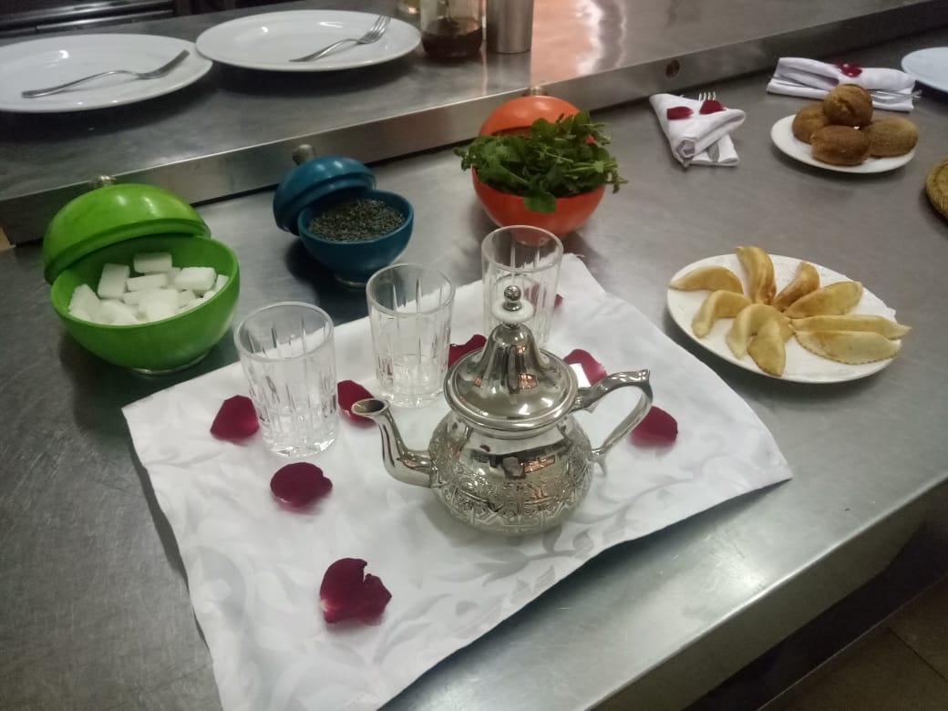 Moroccan tea with 'Cornes de Gazelle' pastries