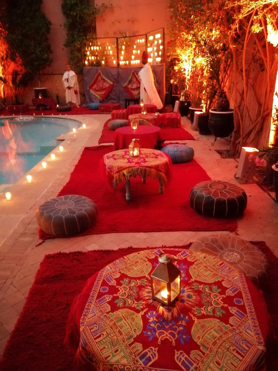 Poolside seating Moroccan style