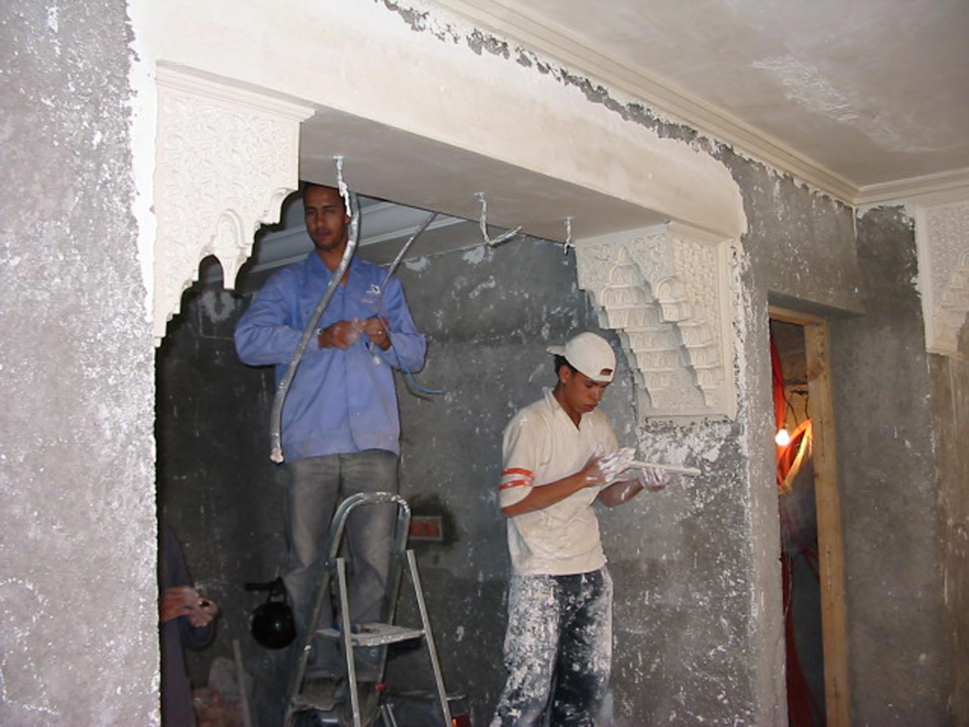 Plasterers at the reception